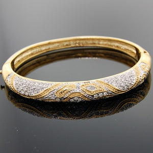 Gold Animal Print Bangle Swarovski Crystal Bracelet