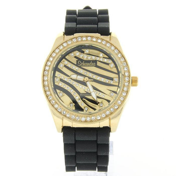 gold black zebra fashion watch