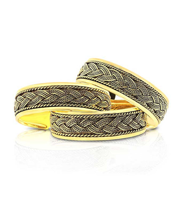 gold-bradded-cuff-bracelet 6 piece pack