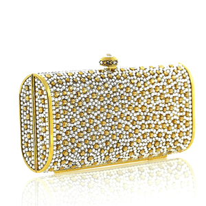 Gold Confetti Swarovski Crystal Evening Clutch