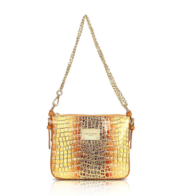 Gold Crocodile Print Designer Handbag Messenger Crossbody Bag