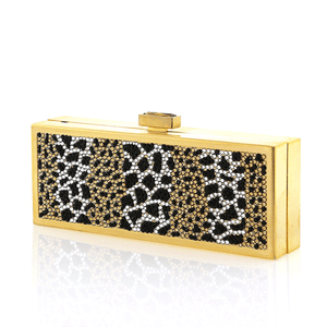 Gold Exotic Animal Print Swarovski Crystal Evening Clutch