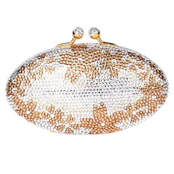 Gold Flower Swarovski Crystal Clutch