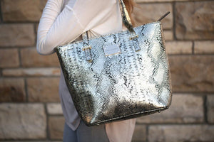 Gold and Black Leather Snake Print Tote Bag