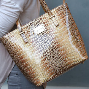 Honey and Gold Leather Tote Bag