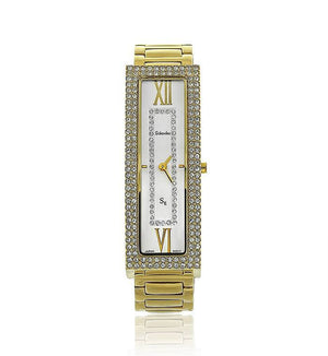 Gold Long Rectangle Swarovski Crystal Pearl Face Designer Watch