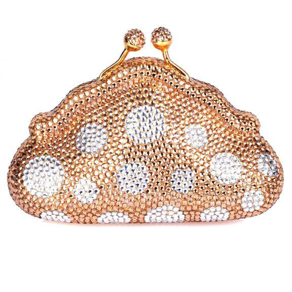 Gold Polka Dot Swarovski Crystal Clutch