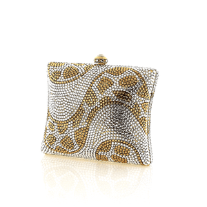 Gold Square Animal Print Swarovski Crystal Evening Clutch