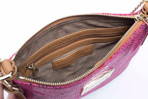 Pink Python Print Leather Crossbody messenger bag