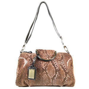 Light Brown Patent Leather Snake Print Satchel Bag