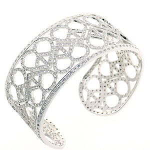Love and Peace Cuff CZ Crystal Bangle Bracelet