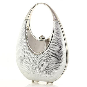 Modern Silver Swarovski Crystal Evening Clutch