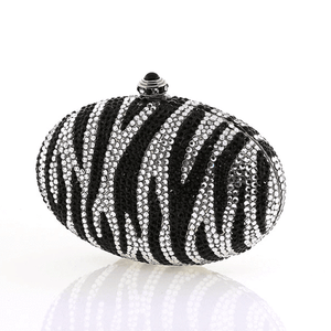 Oval Zebra Swarovski Crystal Evening Clutch