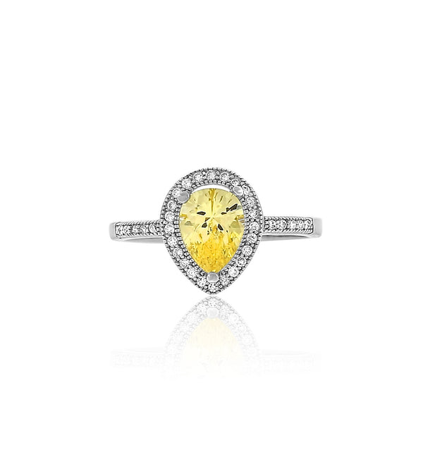 pear yellow diamond cz silver ring