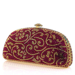 Pink and Gold Swarovski Crystal Evening Clutch