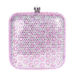 Pink Flower Swarovski Crystal Clutch