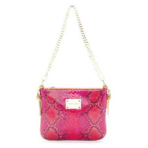 pink crossbody messenger leather bag, designer messenger bag Bobby Schandra Celeberity Style fashion