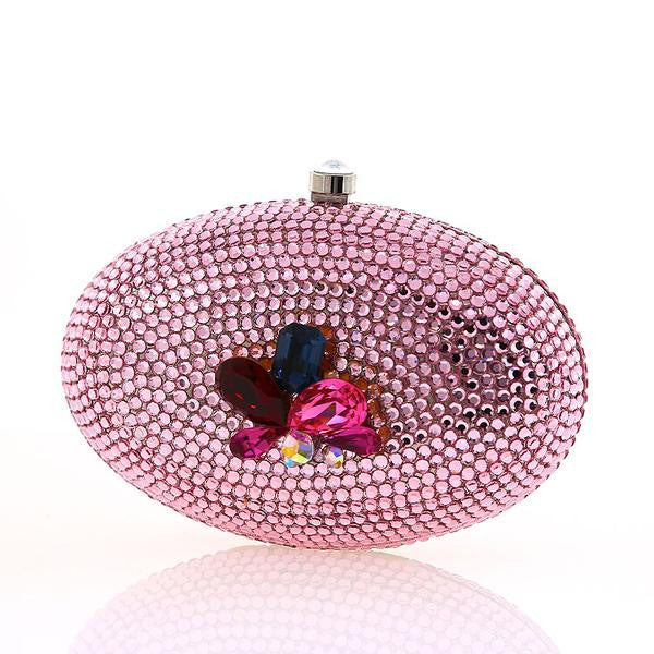 Pink Oval Multi-Color Cluster Swarovski Crystal Clutch