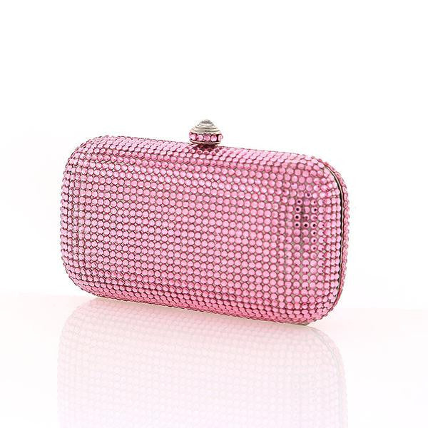 Pink Swarovski Crystal Evening Clutch