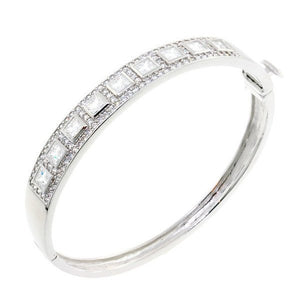 Princess Cut CZ Crystal Bangle Bracelet