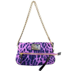 Purple Leopard Clutch Messenger Bag