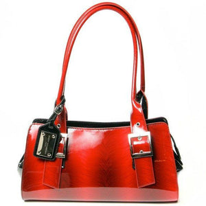 Red Feather Print Patent Italian Leather Bag