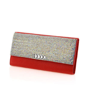 Red Italian Leather Swarovski Crystal Evening Clutch