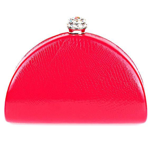 Red Snake Print Swarovski Crystal Clutch