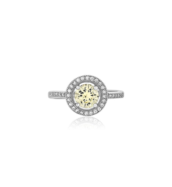 round light yellow cz silver ring