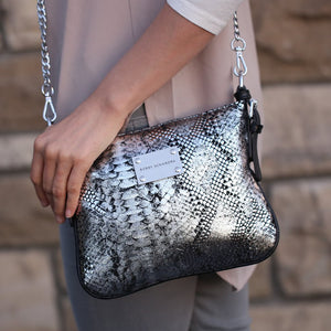 Silver and Black Python Print Leather Crossbody messenger bag