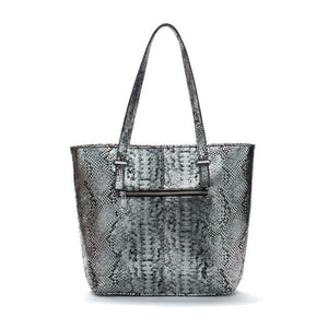 Silver and Black leather Tote Bag