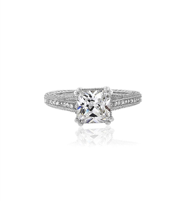 silver cushion cut cz ring