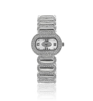 Silver Oval Swarovski Crystal Pearl Face Designer Watch
