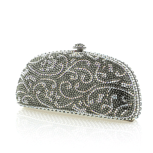 Gray with Aurora Borealis Swirl Swarovski Crystal Clutch