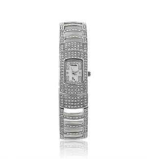 Silver Small Swarovski Crystal Pearl Face Designer Watch