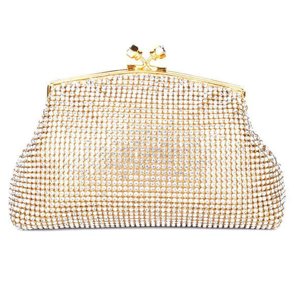 Soft Mesh Gold Swarovski Crystal Clutch