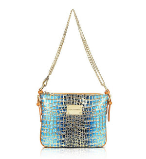 Teal Blue Gold Leather Designer Handbag Crossbody Messenger