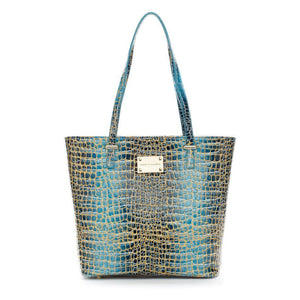 Teal Blue and Gold  Patent Leather Tote