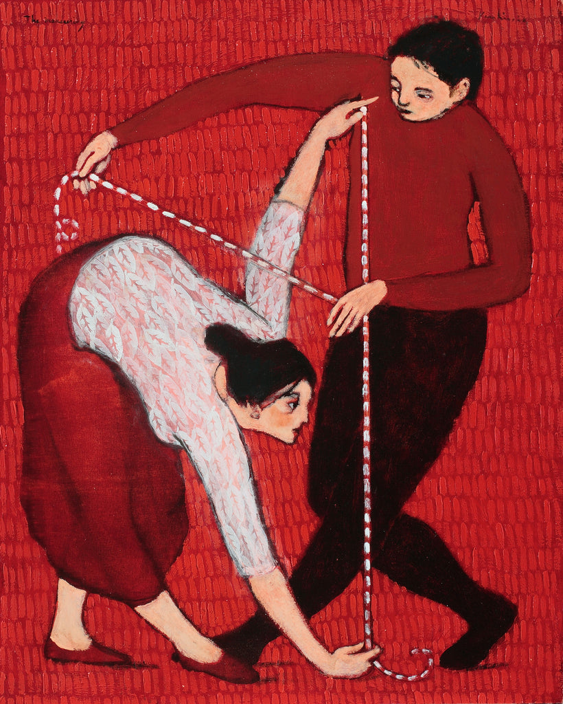 A man with black slacks and red shirt with measuring tape in hand and a woman with red skirt and white skirt and measuring tape against a red background.