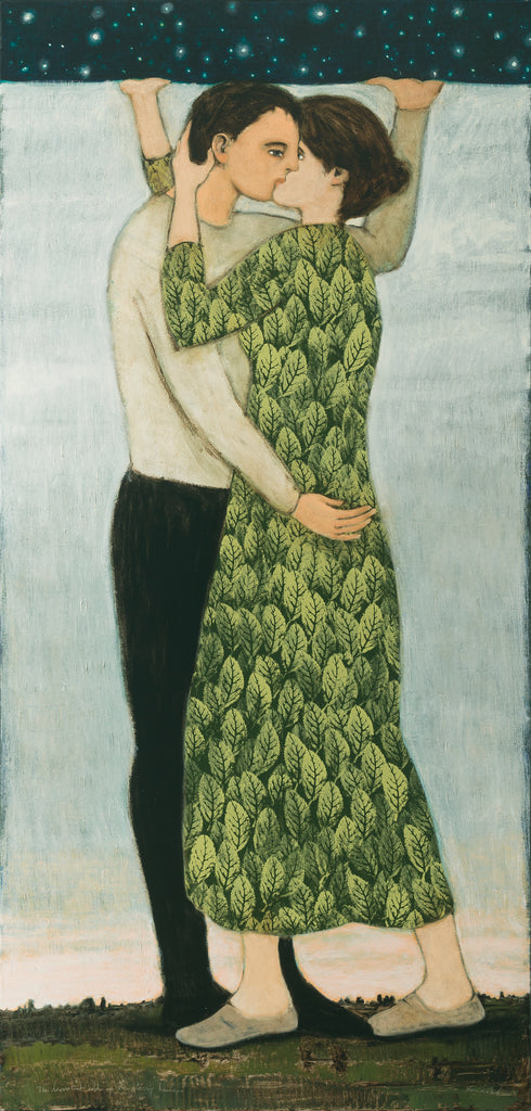 A pair of lovers in a tender embrace holding up the starry heavens while their feet are planted on the earth. She is in a green leafy patterned dress and he in black slacks and an off-white shirt against a blue sky.