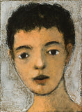 Original oil of a face with curly short hair against a white background.