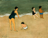 A woman in a black swimsuit on the beach with three young ones.