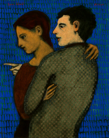 A woman in a dark red top in an open embrace with a dark haired man with a green top who is pointing another way.