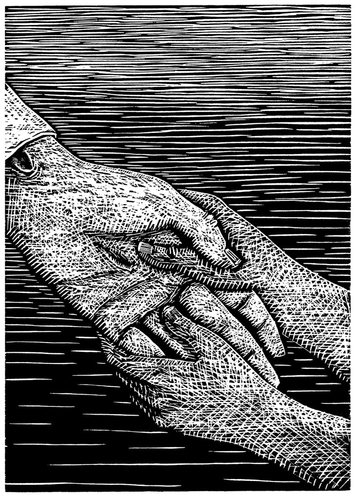 Black and white woodcut of a two hands reaching out touch the hand of another.