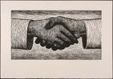 Relief print Handshake by contemporary figurative artist Brian Kershisnik. Two hands are shaking as if in an agreement.