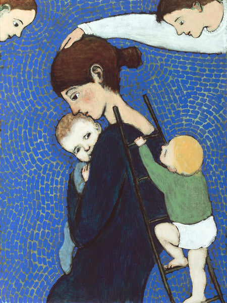 Print of an original oil painting Climbing Mother by contemporary figurative artist Brian Kershisnik. A mother holds her baby tight while another climbs a ladder leaned against her back against a blue and green tiled backdrop with angel in each top corner.