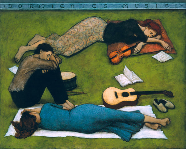 Three weary musicians on the grass, two women and one man with their instruments by their sides. The title is written in black on a turquoise blue border on the top.