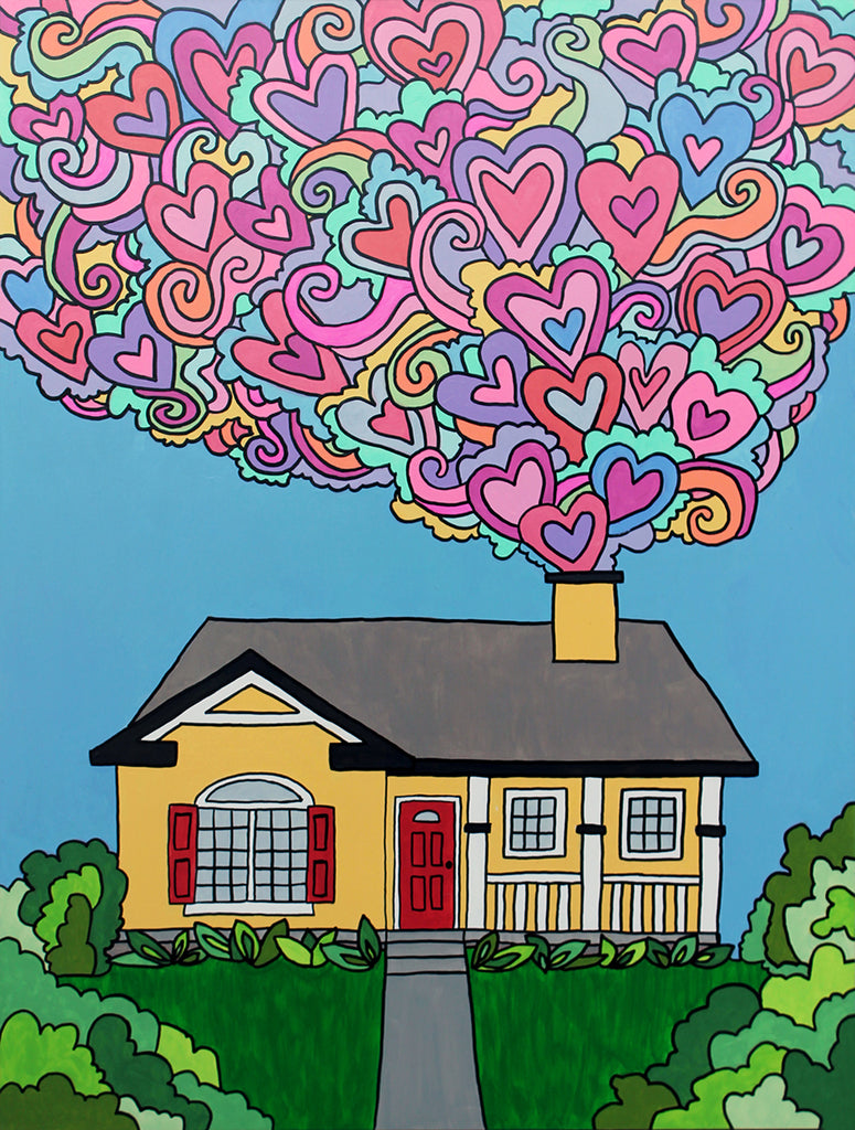 Yellow rambler with red door and shutters with a white picket porch and gray roof on a green lawn, with a blue sky and colorful pastel hearts coming out of the chimney.