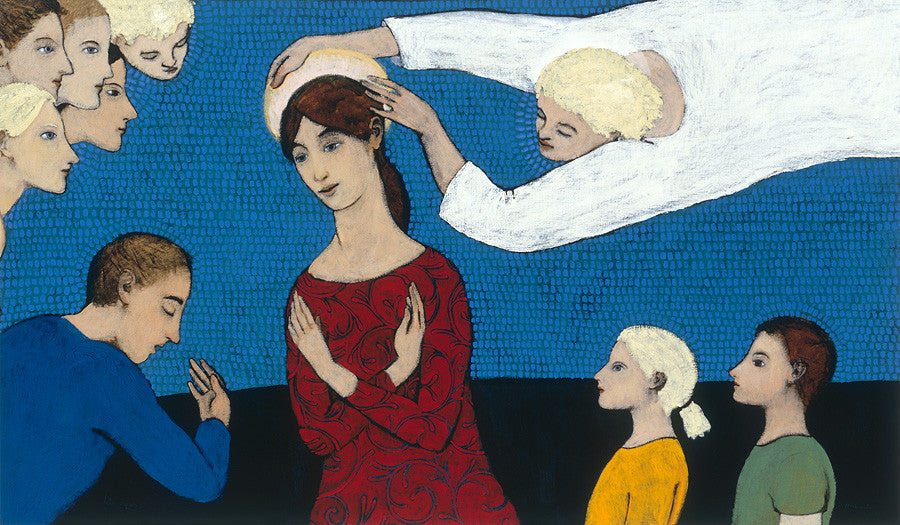 Giclee pigment print of an original oil painting Halo Repair by contemporary figurative artist Brian Kershisnik. A woman in red with her arms crossed against her chest has a her halo adjusted by an angel while two children, angels and a man who is bowing honor her. Set against a vibrant rich blue background.
