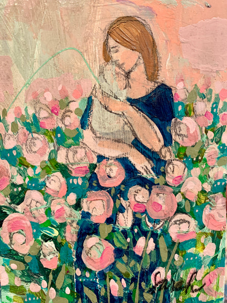 Mother in pink roses - original